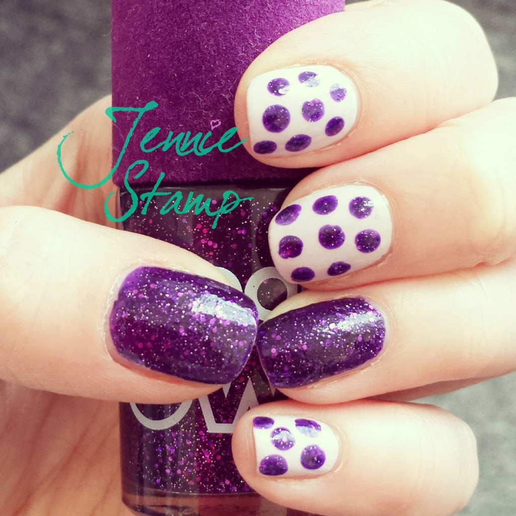 Velvet Purple Spotty Nails
