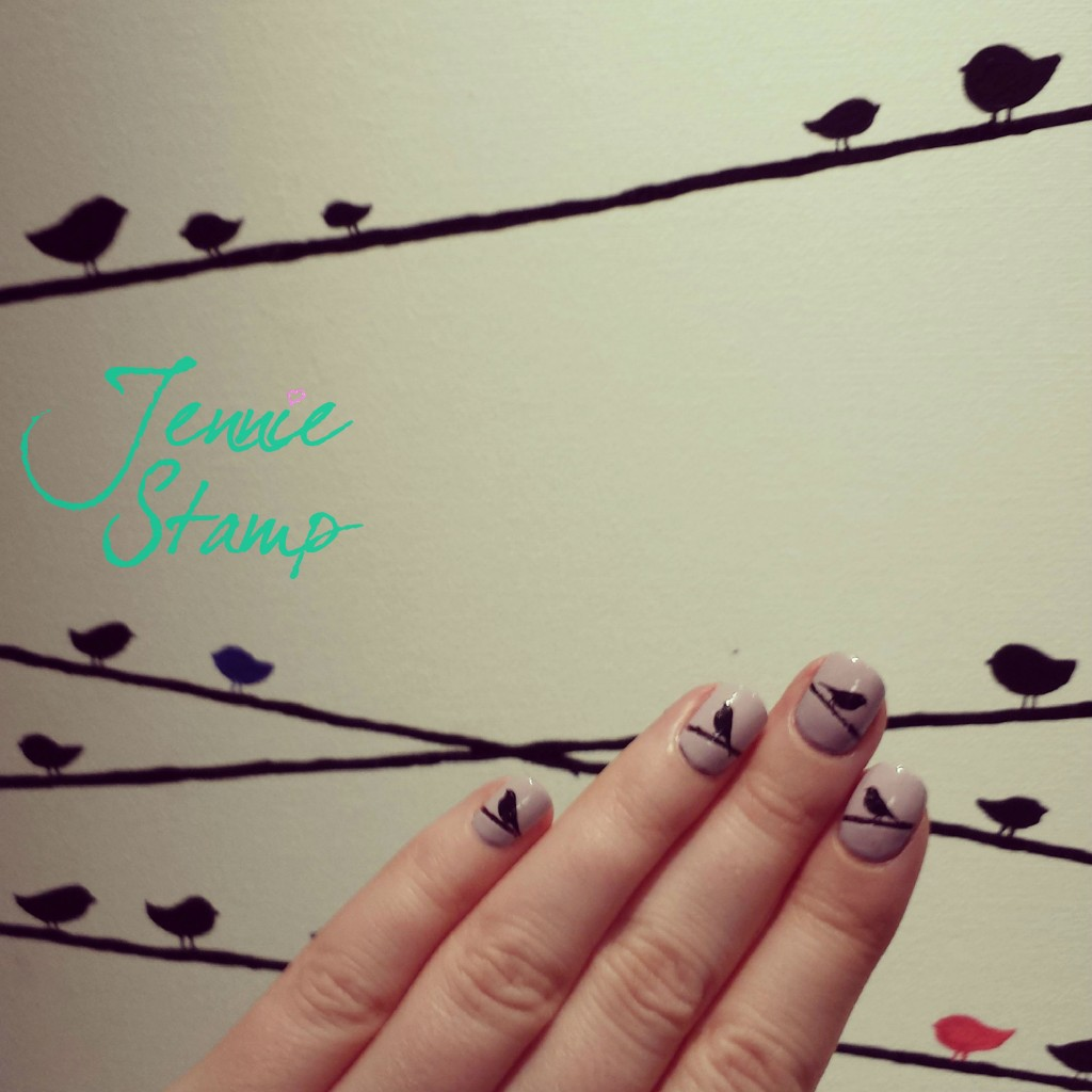 Birds on a wire nails
